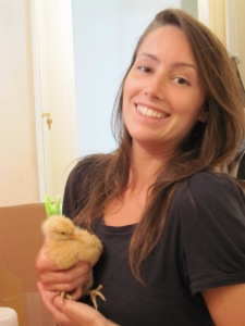 See, not the least bit afraid to hold a chicken!