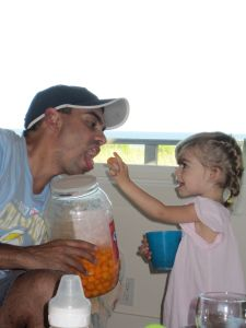 John and Evie have a cheeseball moment