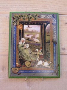 This tile of St. Brigid, patron saint of poutry farmers, watches over the flock