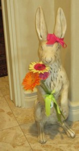 "Victoria ""dressed"" the powder room rabbit!"