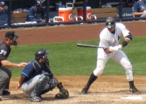 A-Rod at bat. We think we may have seen Kate Hudson in the stands.