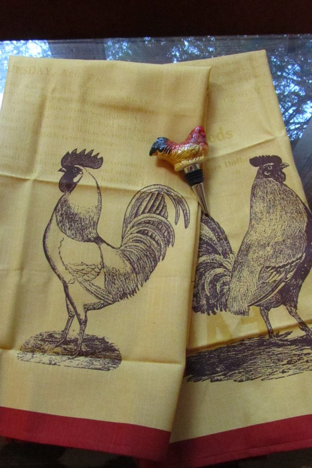 Chickens in the kitchen: Daniel found these towels and a wine stopper