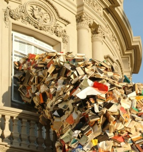"My bookshelf overfloweth: Artist Alicia Martin's ""sculpture"" installation in Spain (image from mymodernmet.com)"