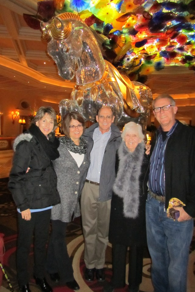 Under the Chihuly glass at the Bellagio, l. to r.; Jean, Gail Mark, Phyllis and the CE