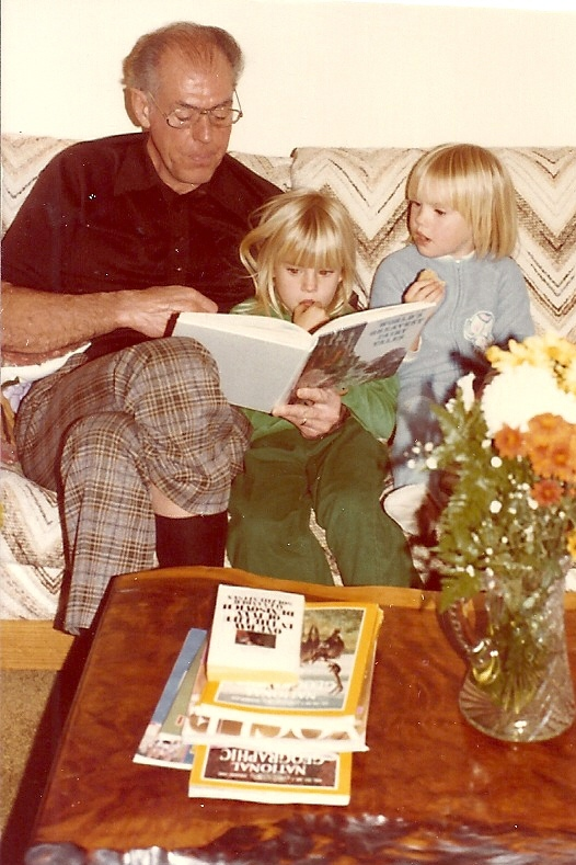 Pops reading to the girls, Christmas, 1979