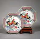 I believe these are roosters, hence the fanciful coloring. (image from winterantiquesshow.com)