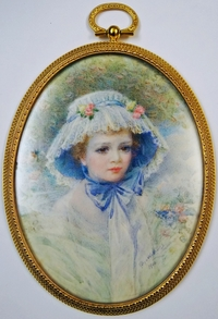 This 1910 miniature of Consuelo Vanderbilt, Duchess of Marlborough, was offered by Elle Shushan (image from artfixdaily.com)