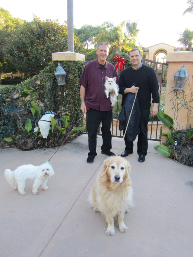 The dogs were convinced Al came to visit them, so he was forced to take them for a walk.