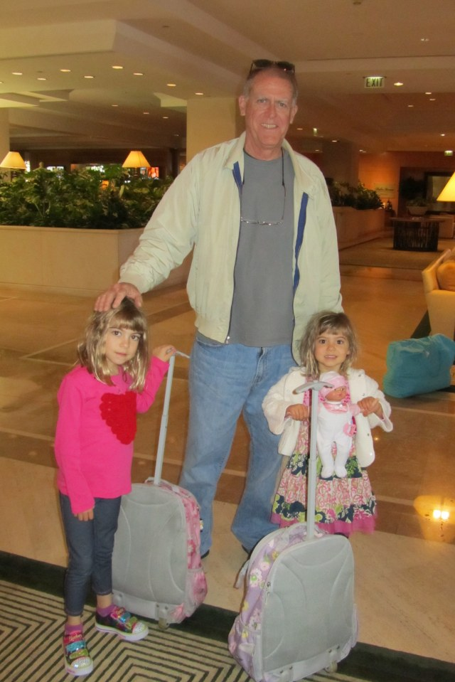 Evie and Viv arrive at our hotel to play with Grandpa and Nana