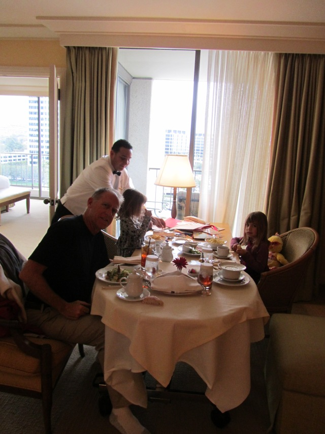Evie and Viv requested room service for lunch, and of course Grandpa said yes