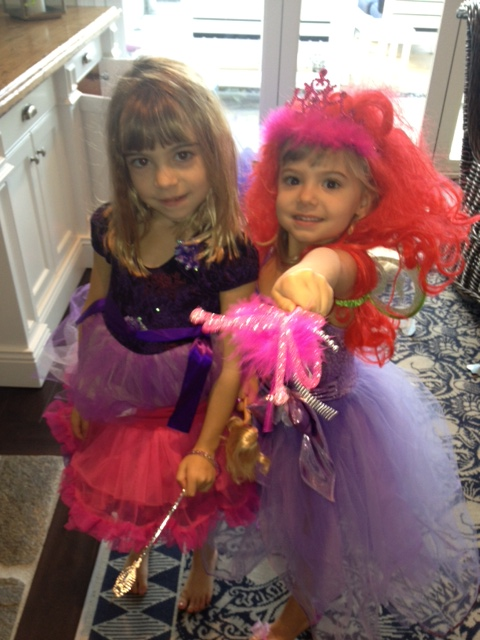 The girls played dress-up while they waited for Mom and Caleigh to come home