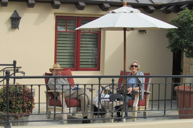 Kirk and Pamela settle into the weekend on a balcony at Hotel Cheval