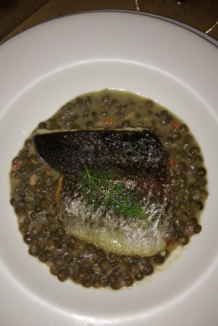 The fish course was trout and lentils and was delicious!