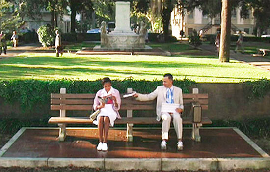 The famous bus bench scenes in the film Forrest Gump were filmed at Savannah's Chippewa Square (image from 8thingstodo.com)