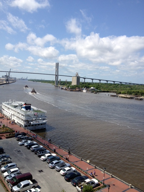 A view from our hotel window of the Savannah River