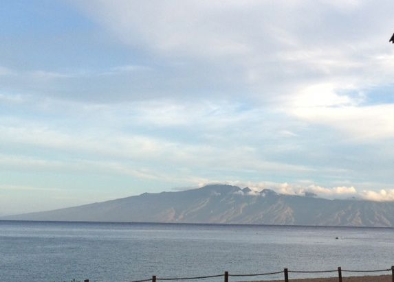 Molokai looks lovely from the Beach Walk in the early morning.