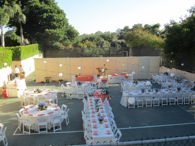 Our tennis court was transformed for the wedding feast.