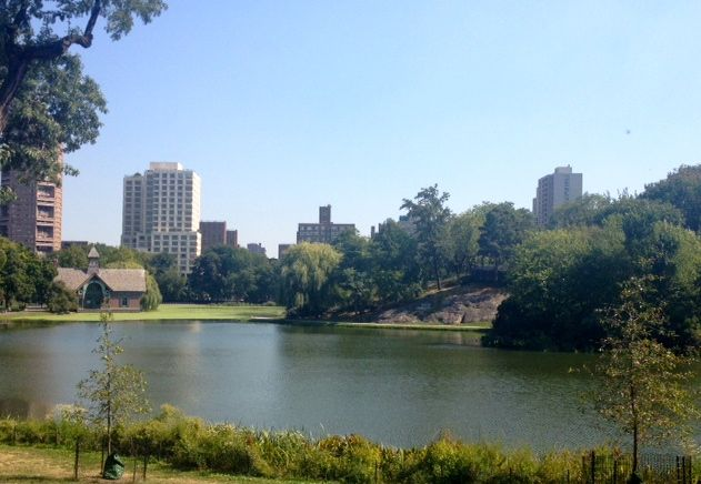 "A view of Harlem Meer. ""Meer"" is the Dutch word for lake."