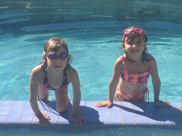 Evie and Viv had fun in our pool