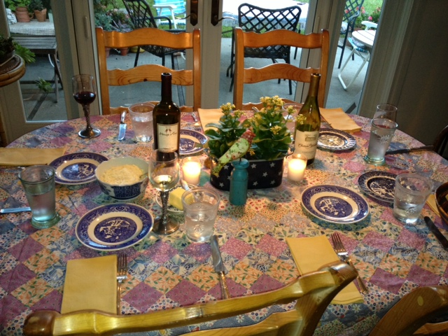 The table is all set for pesto night.