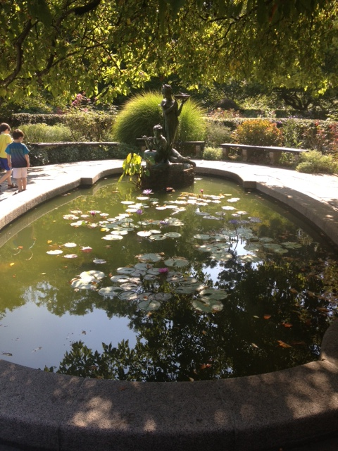 Known as The Secret Garden Water Lily Pool, this Conservatory Garden feature is dedicated to the Memory of Secret Garden Author Frances Hodgson Burnett.
