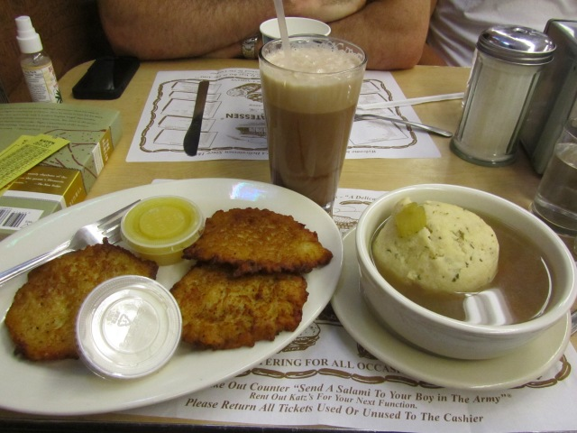 Stay for the potato latkes, matzoh ball soup, chocolate egg cream...
