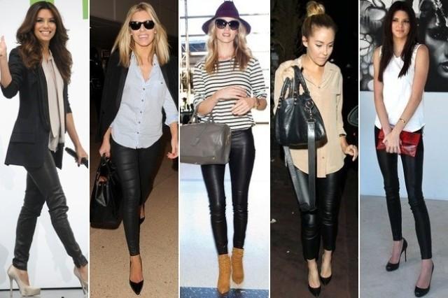 Eva Longoria, Rosie Huntington Whitely and some pseduo celebs rock the leather legging look. (image from zimbio.com)
