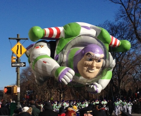 They kept Buzz and the other balloons flying low this year due to wind concerns.