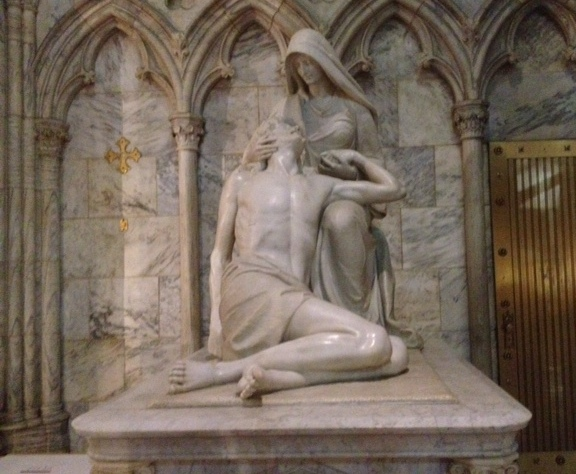 Sculpted in 1906 by William Ordway Partridge, the Pieta is three times larger than Michelangelo's.