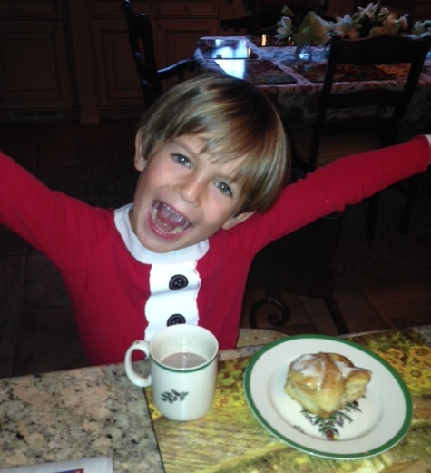James was very happy to start the day with one of Great-Granny's sweet rolls.