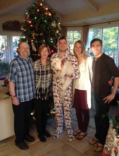 The Gilberts and Alexandra and Andy stopped by to marvel at Daniel in his new onesie.