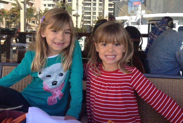 Evie and Viv at lunch.