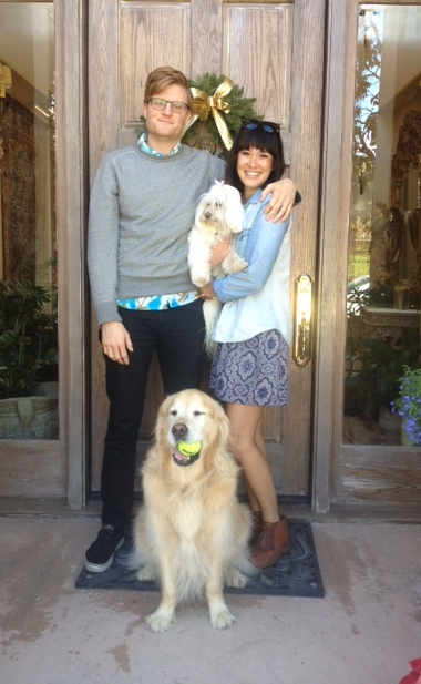 Billy and Teri with the dogs.