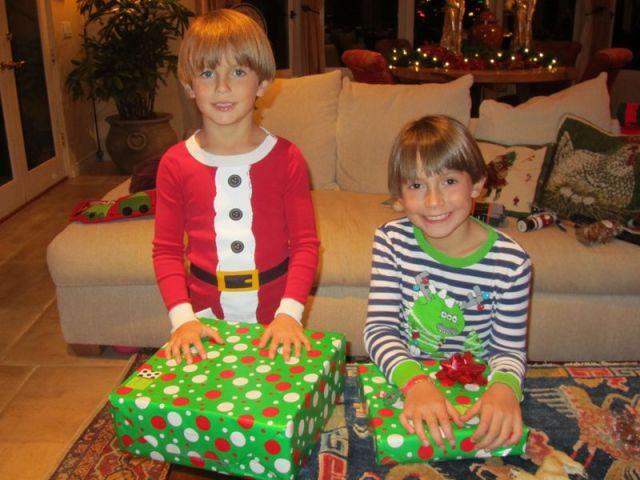 Santa left a few presents for James and Thomas.
