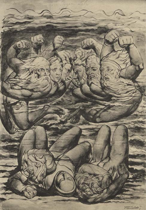 Not too happy: The Sullen and Wrathful as depicted by William Blake (danteworlds.laits.utexas.edu.)