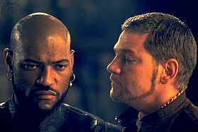 Laurence Fishburne and Kenneth Branagh in the 1995 film version of Othello. (Wikipedia image)