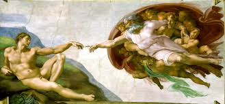 "Michelangelo's famed ""Creation of Adam"" from the Sistine Chapel."