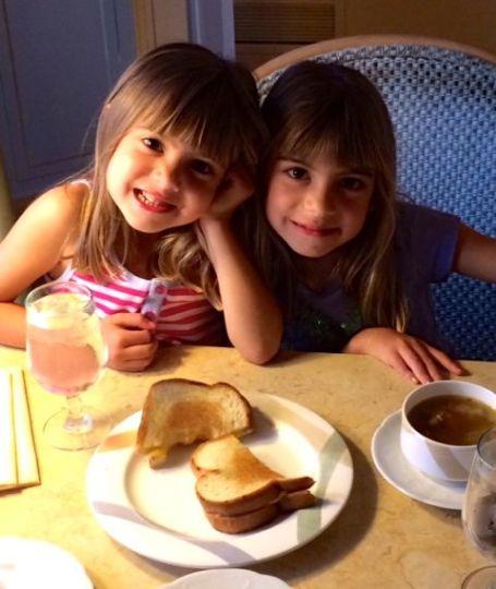 Viv and Evie enjoy room service.