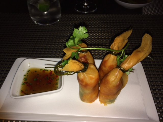 Wolfgang Puck's take on Spring Rolls.