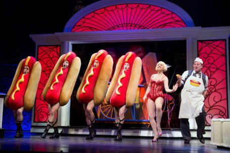 "Don't take the kids: The ""Hot Dog"" song from Bullets Over Broadway is definitely for adults only. (nyt image)"