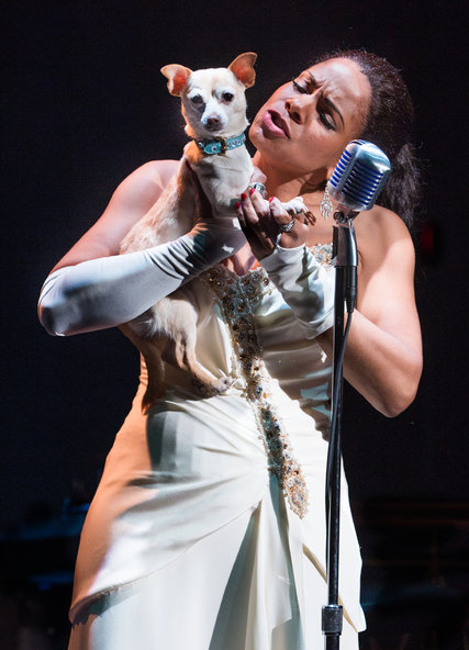 "Audra McDonald as Billie Holiday with her dog ""Pepe"" (net image)"