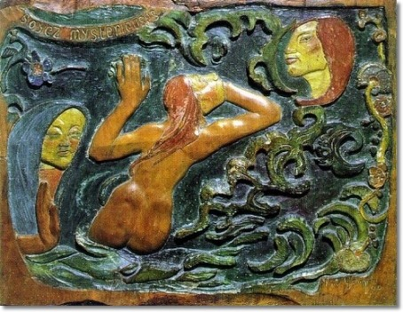 """Be Mysterious"" a wood relief that Gauguin carved before he had even been to Tahiti. (image from musee-orsay.fr)"