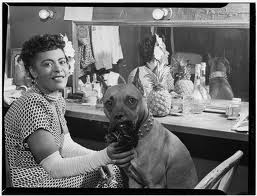 "Billie Holiday in 1946 with her dog ""Mister"". (wikipedia image)"