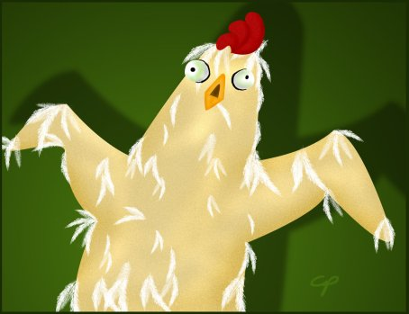 Hope turned into a zombie chicken when she went broody. (image from surlana.deviantart.com)