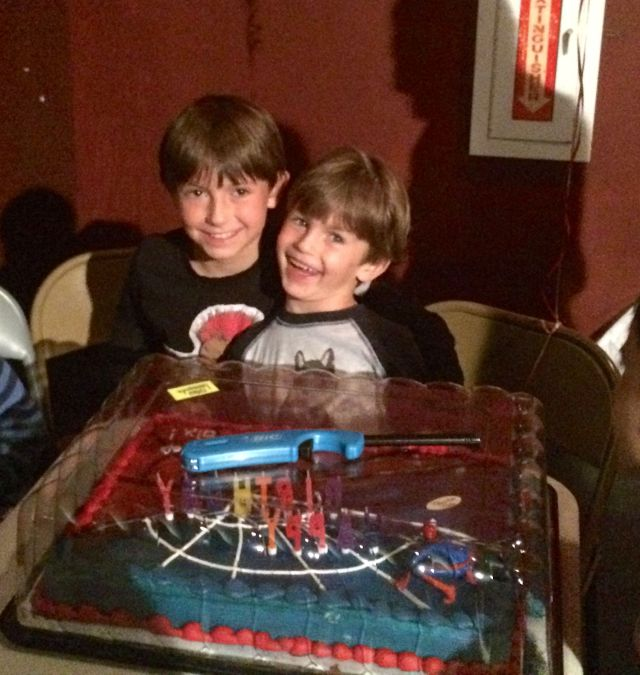 Happy brothers at James' birthday party