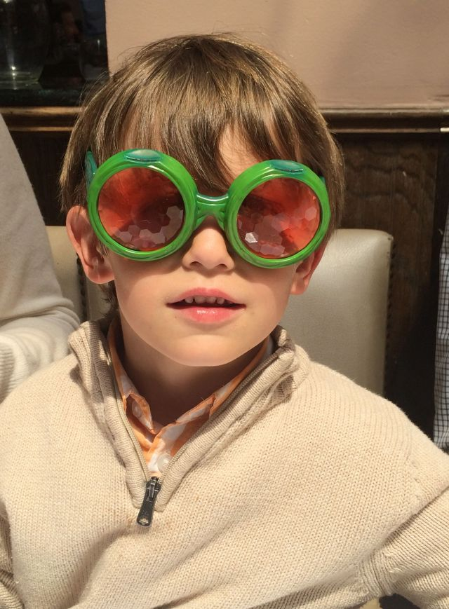 """James in his Easter basket """"fly glasses"""""""