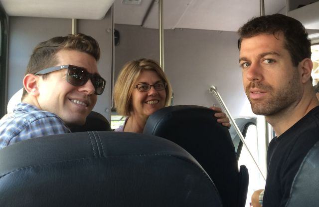 Daniel, Gail and Taylor on the way to the beach this morning to work on their tans for the wedding.