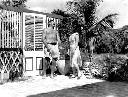 Ernest Hemingway and his second wife, Pauline Pfeiffer, at their home in Key West. (image from jfklibrary.org)