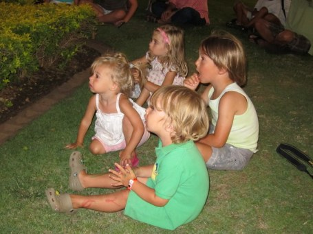 Our other little flock - the cousins who named the chicks, all together in Hawaii a few years back.