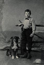 Jack London at age nine with his dog, Rollo (wikipedia image)